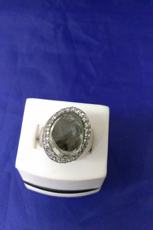 Sterling Silver & Green Topaz Ring