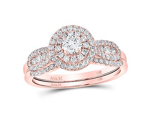 14k Rose Gold 0.74ct Diamond Wedding Set