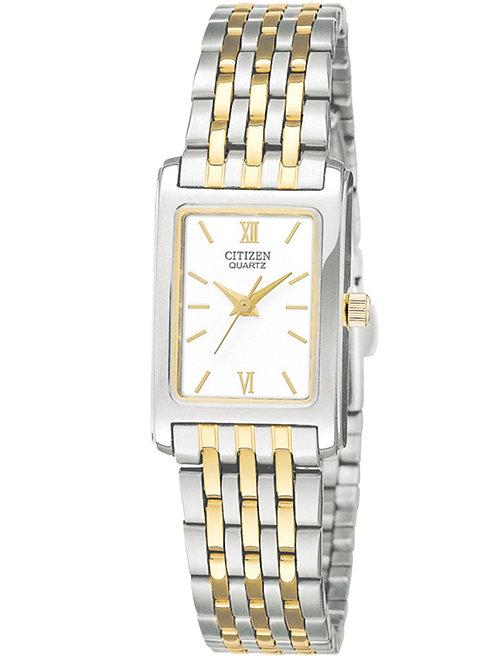 Ladies Citizen Quartz Two-Tone Watch With Rectangular White Dial