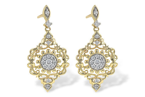 14k Yellow Gold 0.24ct Diamond Dangle Earrings