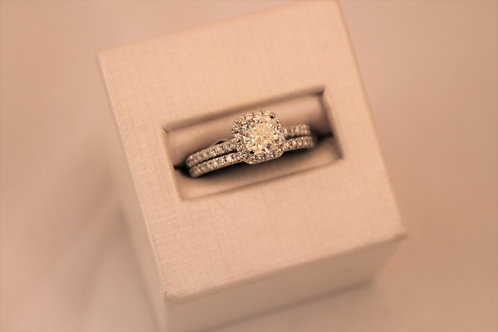 14kt White Gold Square Cushion Cut Diamond Engagement Set