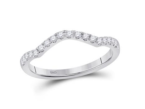 10k White Gold Stackable Curved Diamond Band