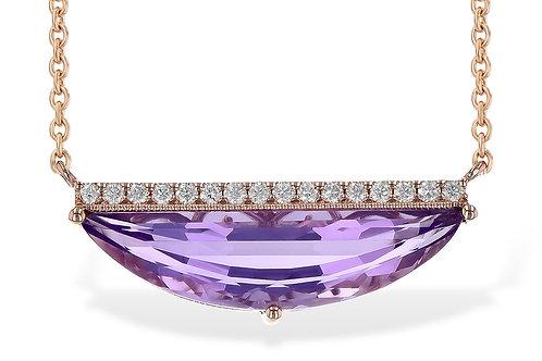 14k Rose Gold Amethyst & Diamond Necklace