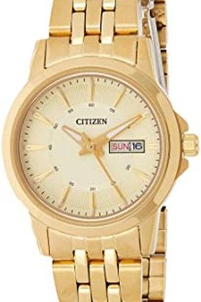 Citizen Quartz Ladies Gold Tone With Champagne Dial