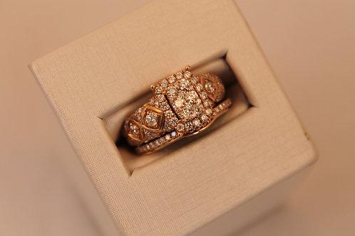 14kt Rose Gold 1cctw Diamond Cluster Bridal Set