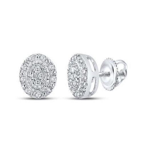 10k White Gold Oval Diamond Cluster Stud Earrings