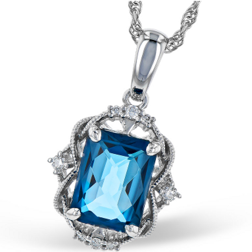 14k White Gold London Blue Topaz Necklace with Diamond Accents