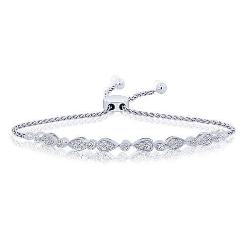 10k White Gold Vintage Style Diamond Bolo Bracelet