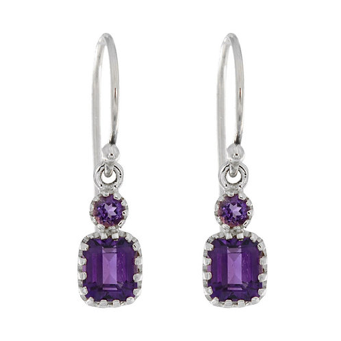10k White Gold Vintage Style Amethyst Earrings