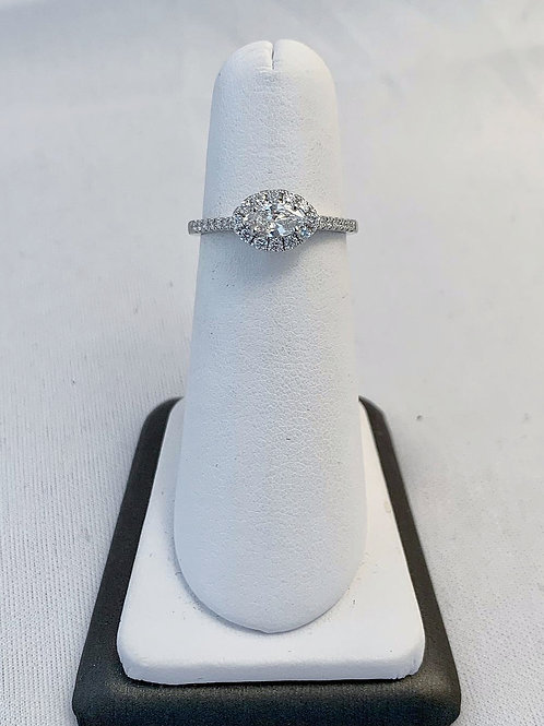 14k White Gold 0.54ct East-West Set Marquise Diamond Ring
