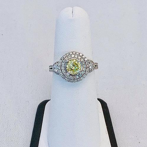 14k White Gold 2.29ct Yellow and White Diamond Ring