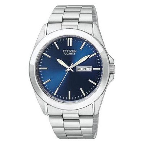 Men's Citizen Quartz Silver Watch With Blue Dial