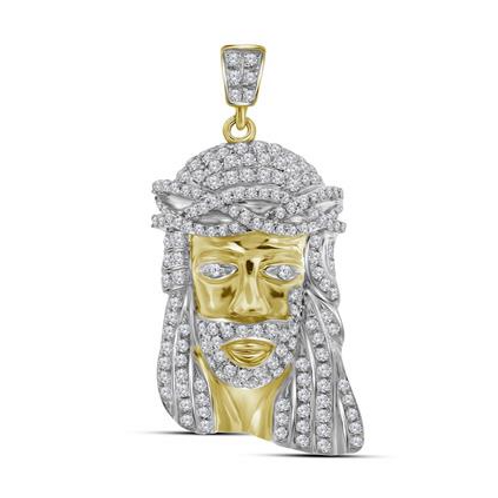 10k Yellow Gold Jesus Charm with Diamond & White Gold Accents
