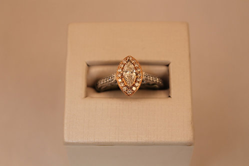 14kt White & Rose Gold 3/4cctw Marqise Cut Diamond Engagement Ring