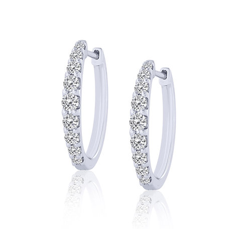 14k White Gold Graduated Diamond Hoop Earrings