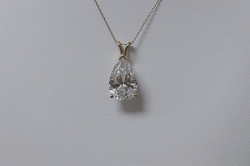 14k Yellow Gold 4.0ct Pear Cut CZ Necklace