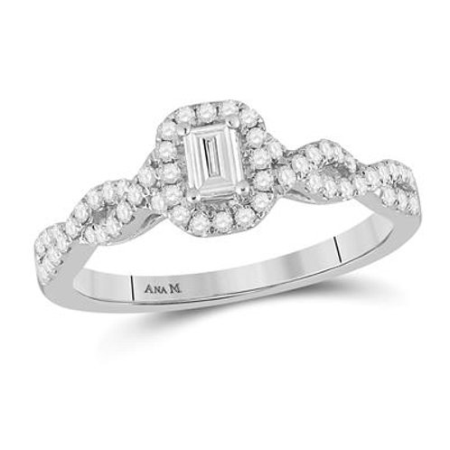 14k White Gold Emerald Cut Diamond Halo Engagement Ring