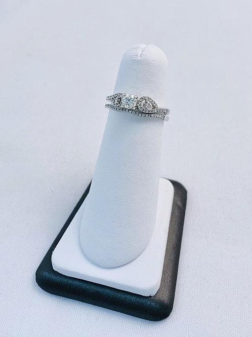 14k White Gold 0.80ct Round Diamond Wedding Set