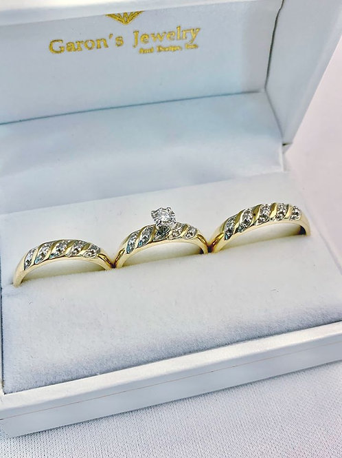 10kt Gold Diamond Wedding Trio Set