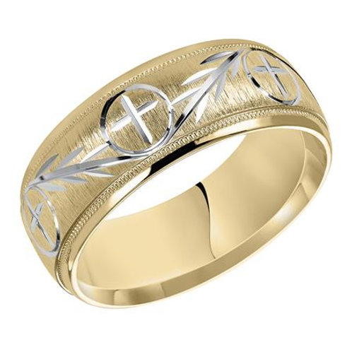 14k Two-Tone Gold Men's Wedding Band with Cross Design