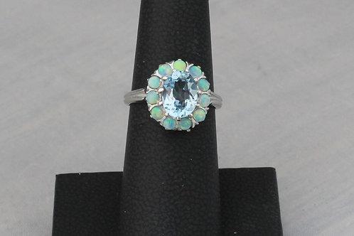 10k White Gold Blue Topaz & Opal Ring