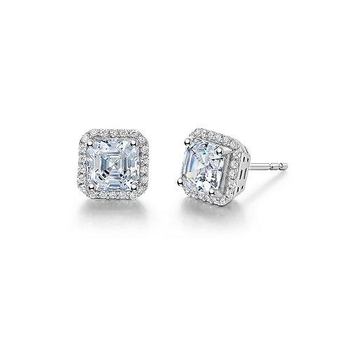 Sterling Silver Asscher Cut Halo Stud Earrings