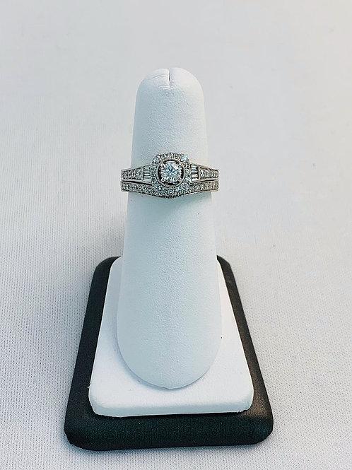 14k White Gold 1/2ct Round Diamond Wedding Set