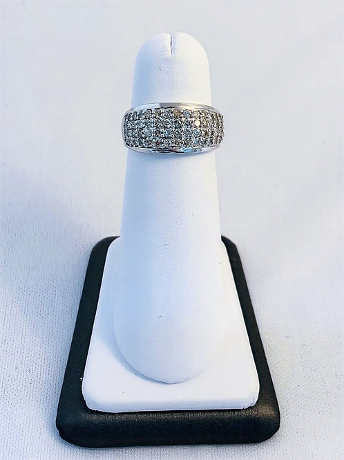 14k White Gold 1.0ct Total Diamond Fashion Ring