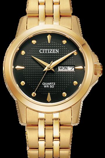 Ladies Citizen Quartz Gold Tone Watch With Round Black Dial