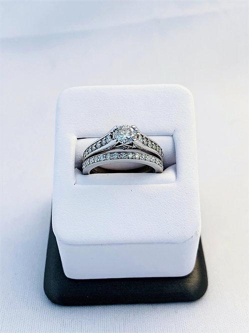 14k White Gold 1.0ct Total Diamond Wedding Set