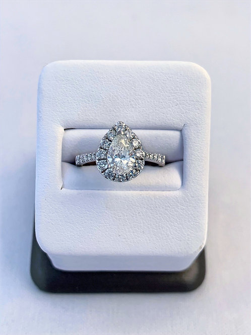 14k White Gold 1.48ct Pear Cut Diamond Engagement Ring