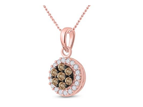 10k Rose Gold Necklace with White & Brown Diamonds