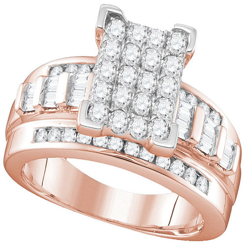 10K Rose Gold Princess Diamond Cluster Bridal Engagement Ring 1 CTTW