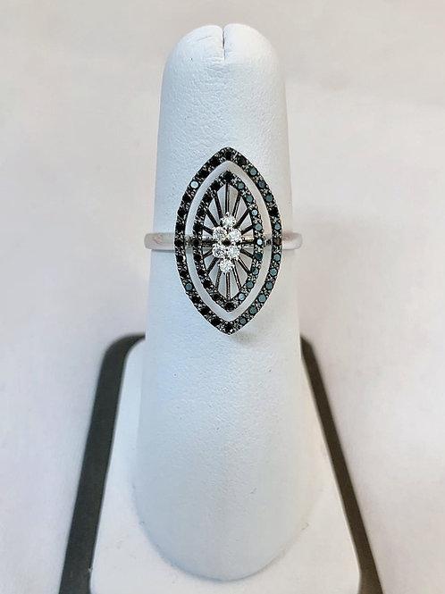 14k White Gold, 0.38ct Black and White Diamond Fashion Ring