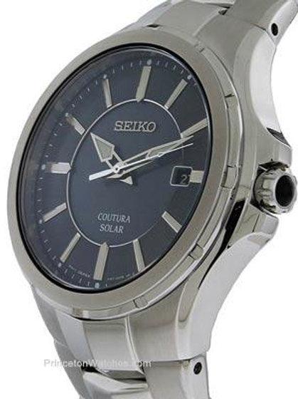 Seiko Coutura Solar Date Watch Stainless Steel Metallic Gray Dial