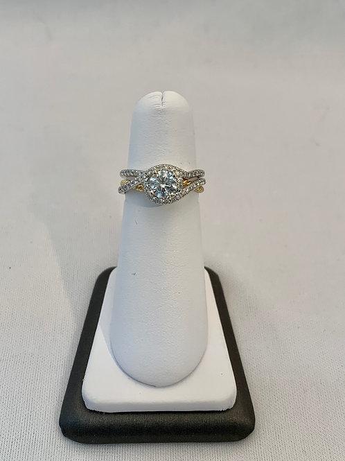 14k White and Yellow Gold 0.87ct Round Diamond Wedding Set