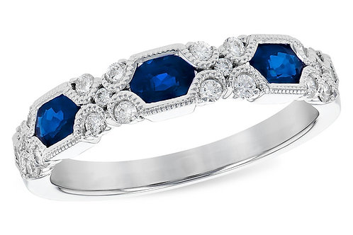 14kt White Gold Vintage Style Sapphire & Diamond Band