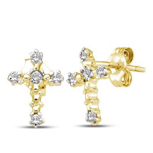 14k Yellow Gold Cross Earrings With Diamonds