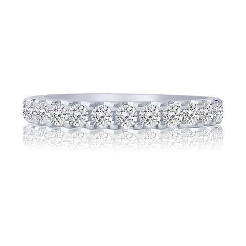 10k White Gold Shared Prong 0.75ct Diamond Band