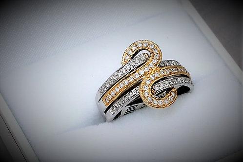 14k Two-Tone Yellow & White Gold 0.50ct Diamond Ring