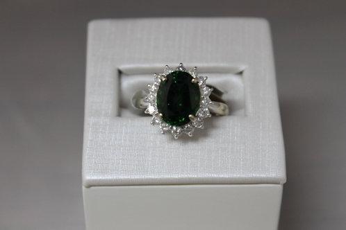14k White Gold Oval Green Tourmaline & Diamond Halo Ring
