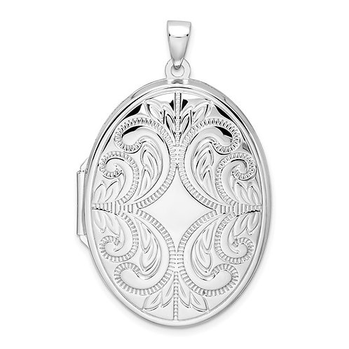 Sterling Silver Rhodium-Plated Oval Scroll Locket With Chain