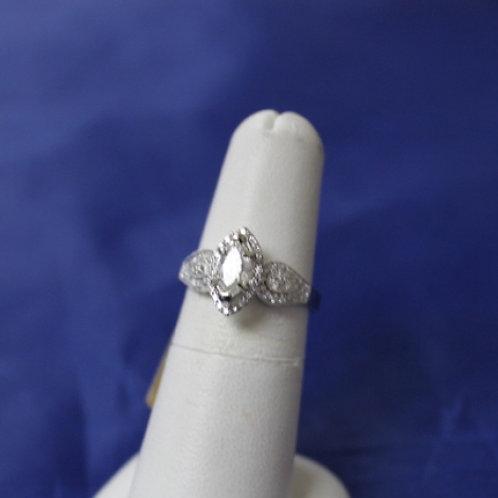 14k White Gold 0.99ct Marquise Diamond Engagement Ring