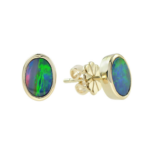 10kt Yellow Gold Opal Stud Earrings