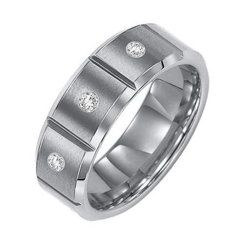 White Tungsten Carbide Men's Wedding Band with Diamonds