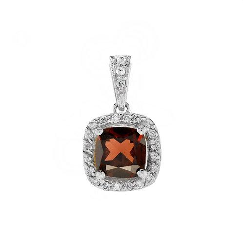 10kt White Gold Classic Garnet & Diamond Pendant With Chain
