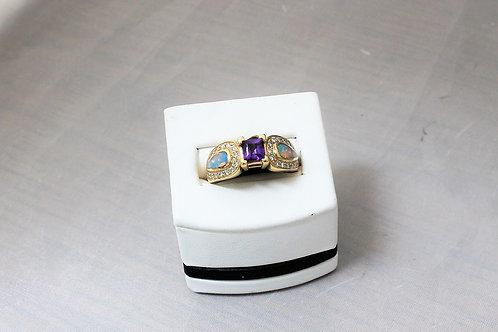 14k Yellow Gold Amethyst, Diamond & Opal Ring