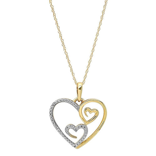 10k Yellow Gold Open Hearts Pendant With Diamond Accents