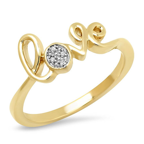"10k Yellow Gold ""Love"" Ring With Diamond Accents"