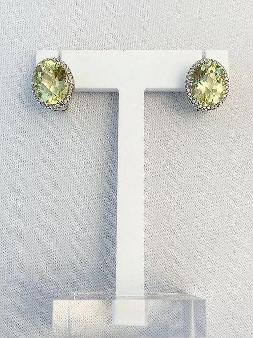 14k White Gold Lemon quartz earrings